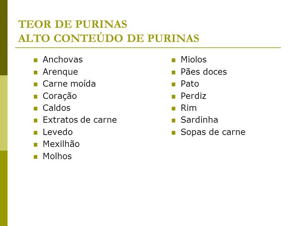 TEOR DE PURINAS ALTO CONTEÚDO DE PURINAS