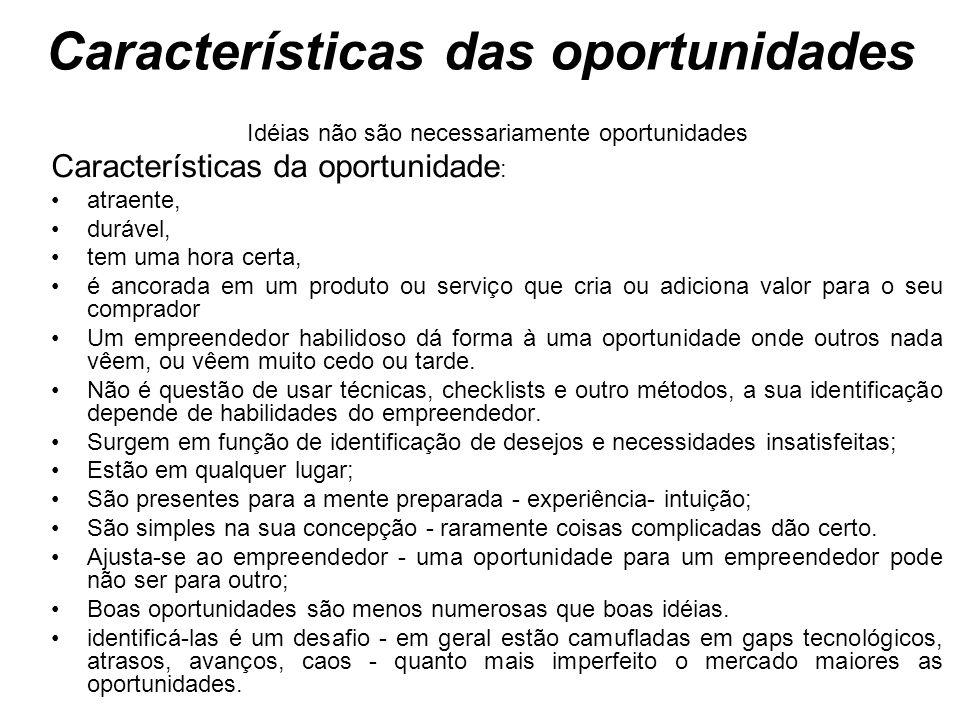Características das oportunidades