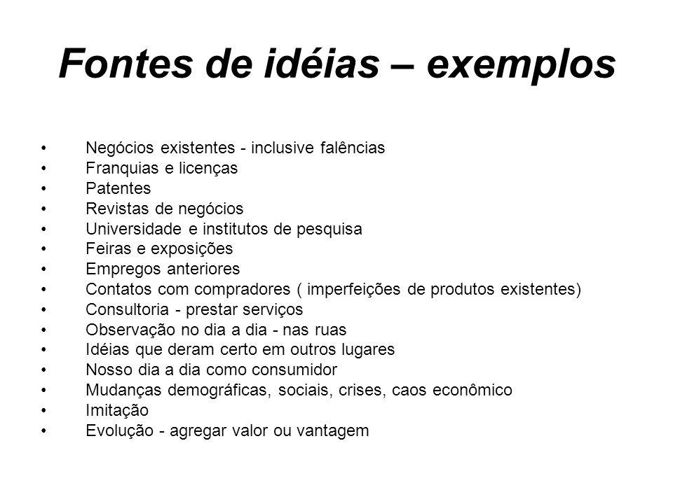Fontes de idéias – exemplos
