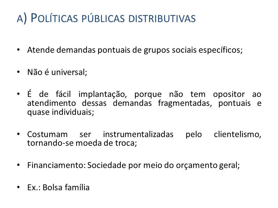 a) Políticas públicas distributivas