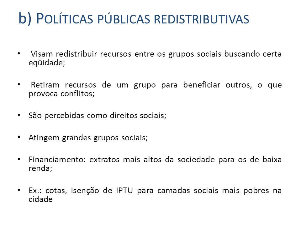 b) Políticas públicas redistributivas