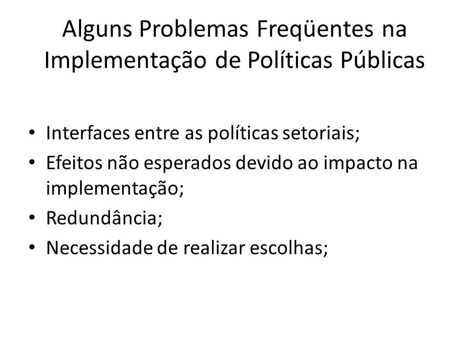 Alguns Problemas Freqüentes na Implementação de Políticas Públicas