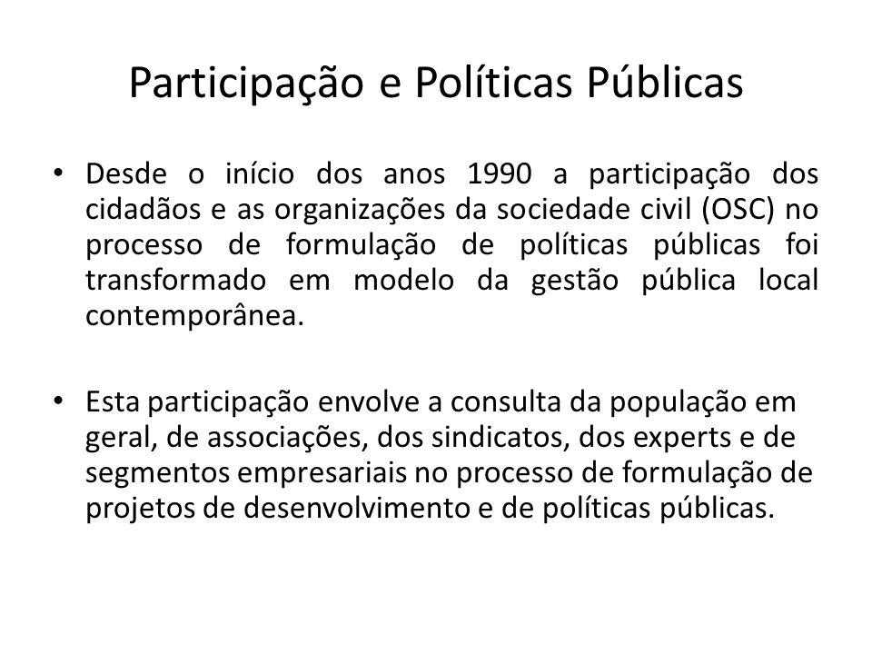 Participação e Políticas Públicas