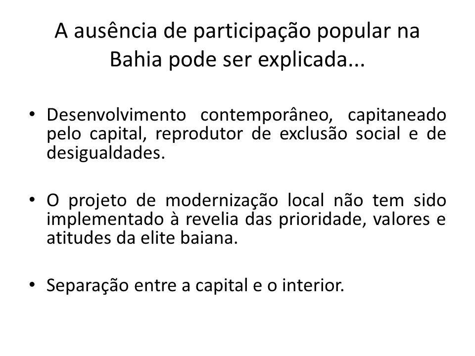 A ausência de participação popular na Bahia pode ser explicada...