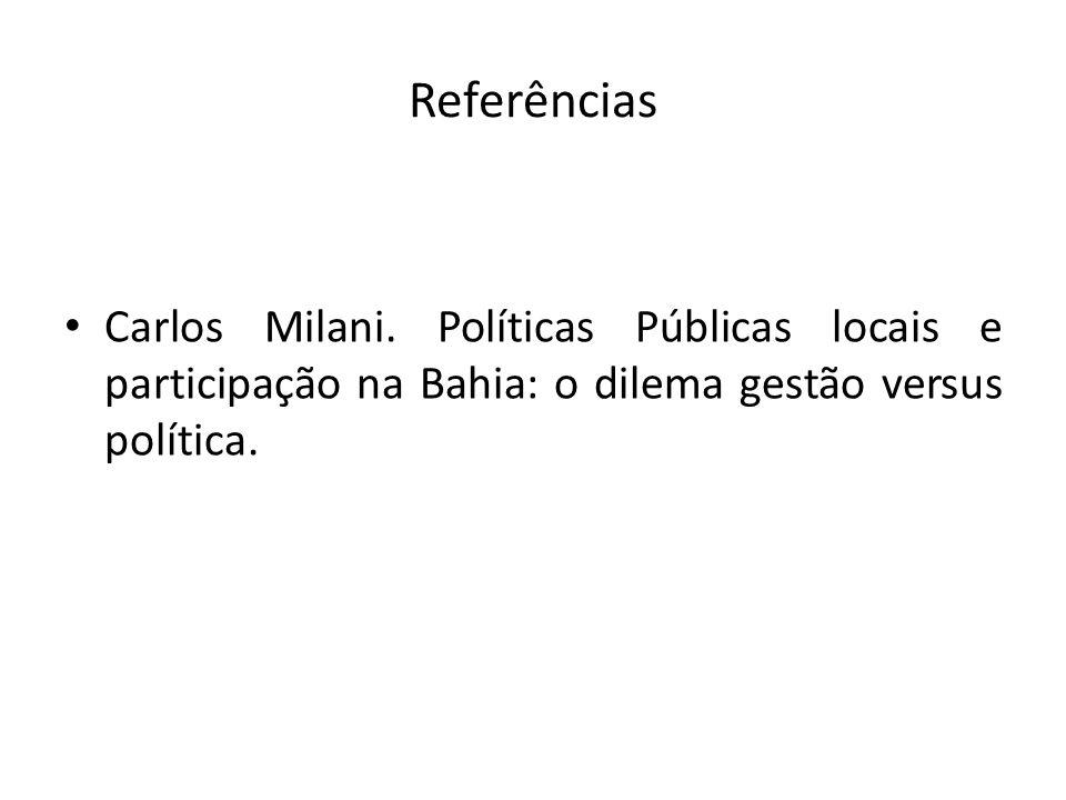 Referências Carlos Milani.