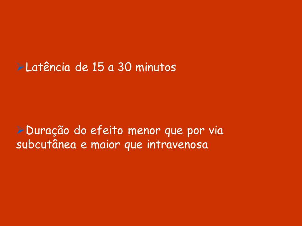 Latência de 15 a 30 minutos Duração do efeito menor que por via subcutânea e maior que intravenosa