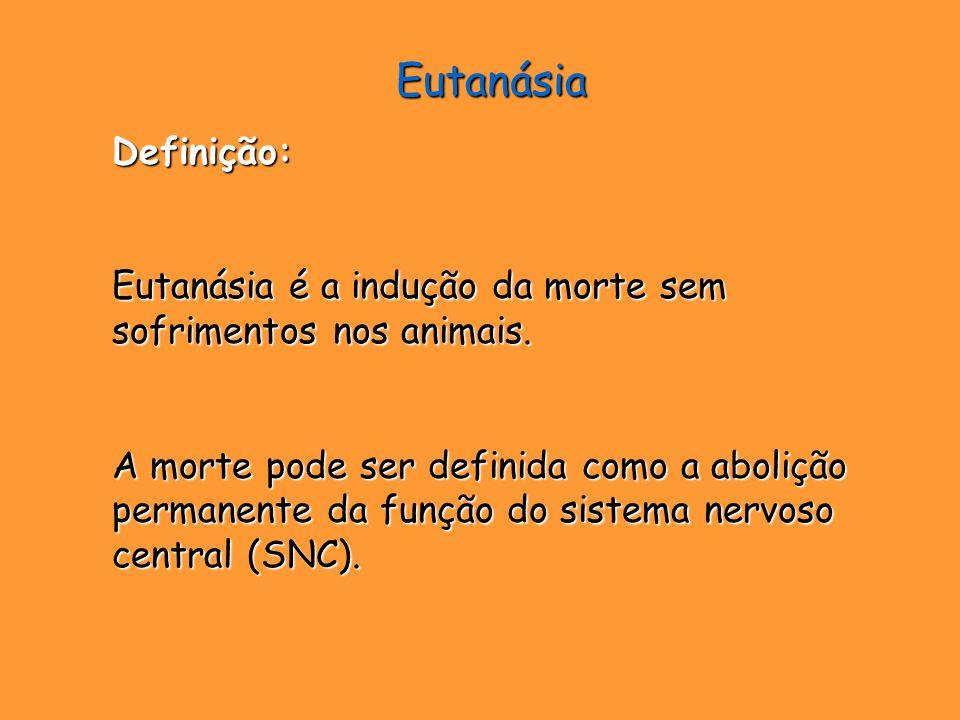 Eutanásia Definição: Eutanásia é a indução da morte sem sofrimentos nos animais.