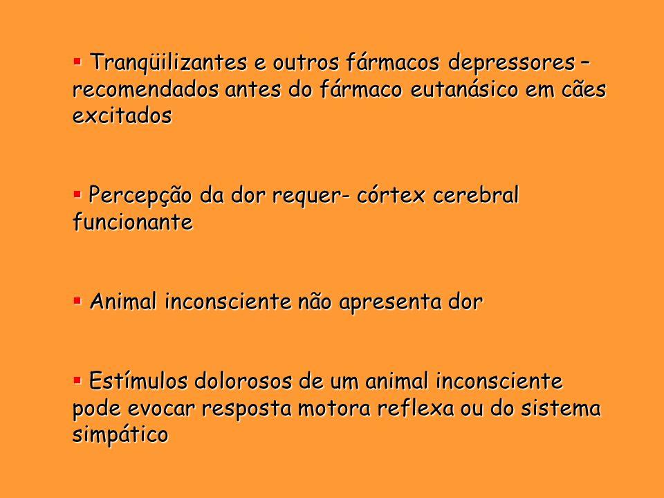 Tranqüilizantes e outros fármacos depressores – recomendados antes do fármaco eutanásico em cães excitados
