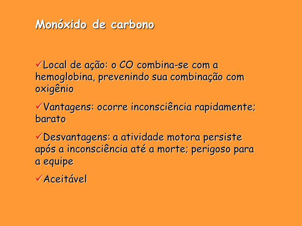 Monóxido de carbono Local de ação: o CO combina-se com a hemoglobina, prevenindo sua combinação com oxigênio.