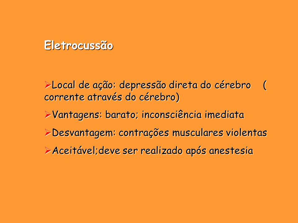 Eletrocussão Local de ação: depressão direta do cérebro ( corrente através do cérebro) Vantagens: barato; inconsciência imediata.