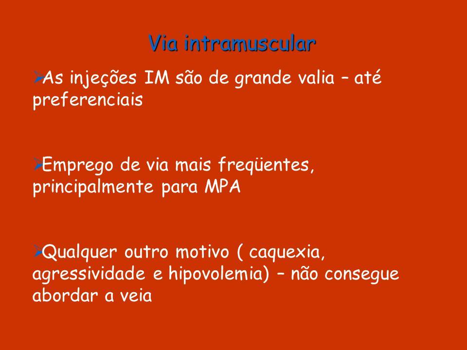 Via intramuscular As injeções IM são de grande valia – até preferenciais. Emprego de via mais freqüentes, principalmente para MPA.