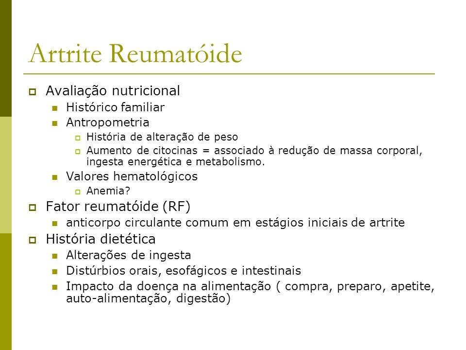 Artrite Reumatóide Avaliação nutricional Fator reumatóide (RF)
