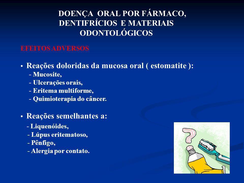 DOENÇA ORAL POR FÁRMACO, DENTIFRÍCIOS E MATERIAIS ODONTOLÓGICOS