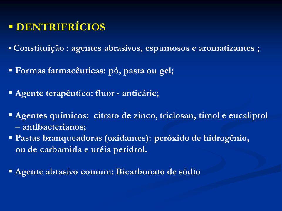 DENTRIFRÍCIOS Formas farmacêuticas: pó, pasta ou gel;