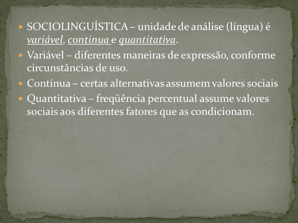 SOCIOLINGUÍSTICA – unidade de análise (língua) é variável, continua e quantitativa.