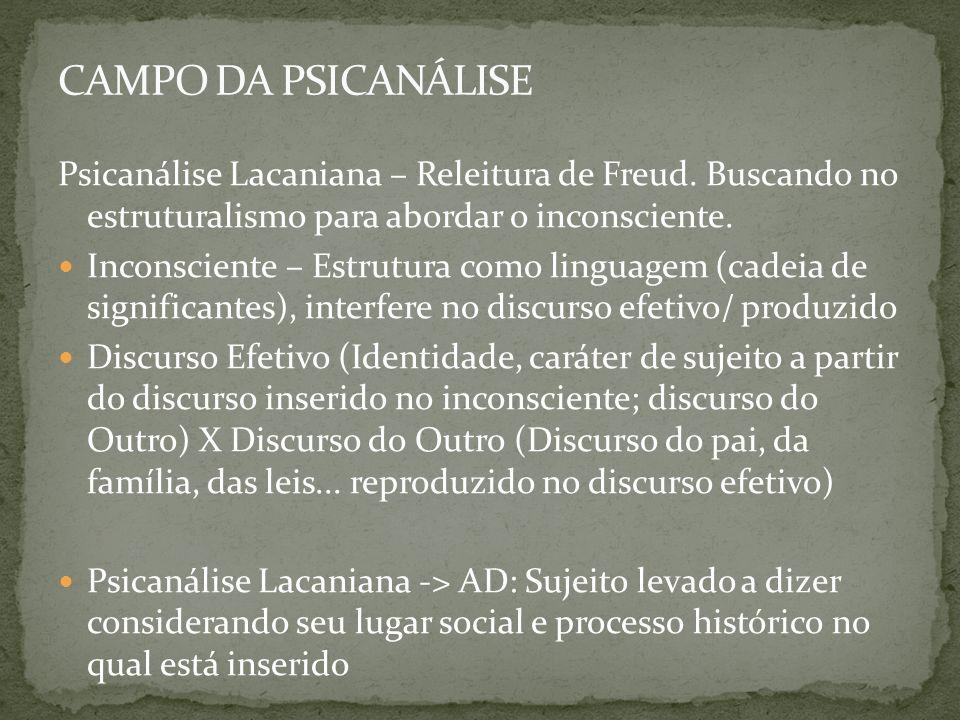 CAMPO DA PSICANÁLISE Psicanálise Lacaniana – Releitura de Freud. Buscando no estruturalismo para abordar o inconsciente.