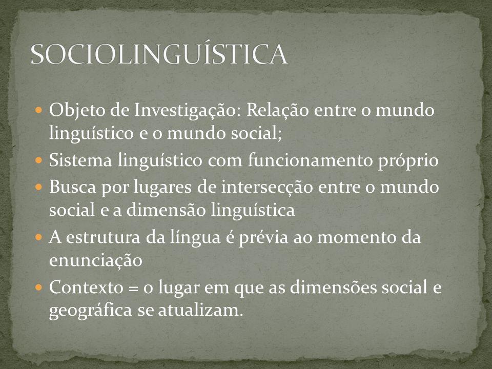 SOCIOLINGUÍSTICAObjeto de Investigação: Relação entre o mundo linguístico e o mundo social; Sistema linguístico com funcionamento próprio.