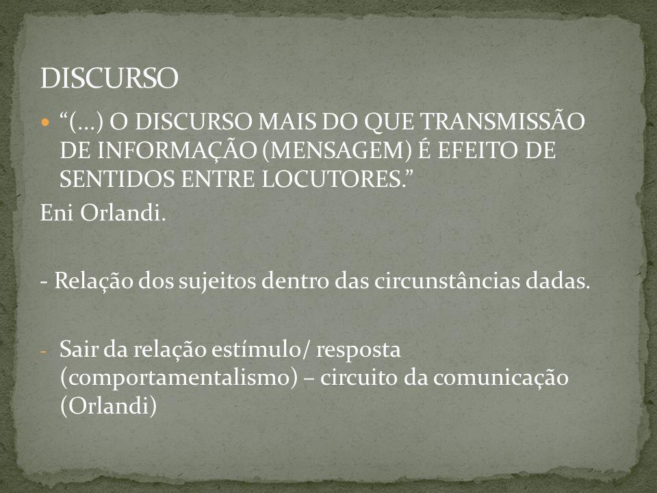 DISCURSO (...) O DISCURSO MAIS DO QUE TRANSMISSÃO DE INFORMAÇÃO (MENSAGEM) É EFEITO DE SENTIDOS ENTRE LOCUTORES.