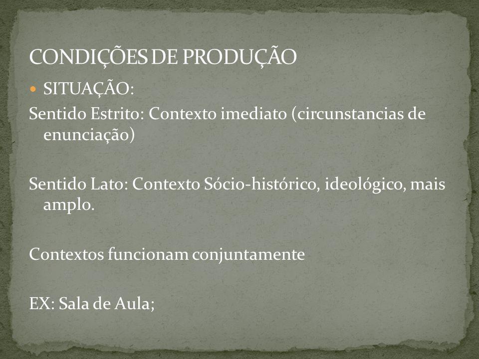 CONDIÇÕES DE PRODUÇÃO SITUAÇÃO: