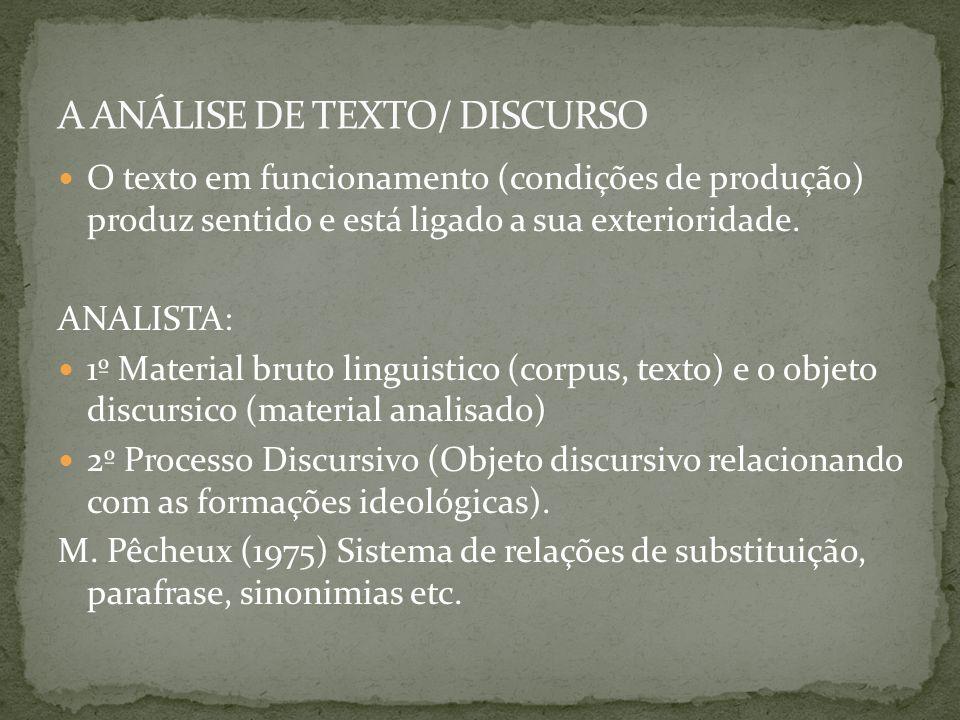 A ANÁLISE DE TEXTO/ DISCURSO