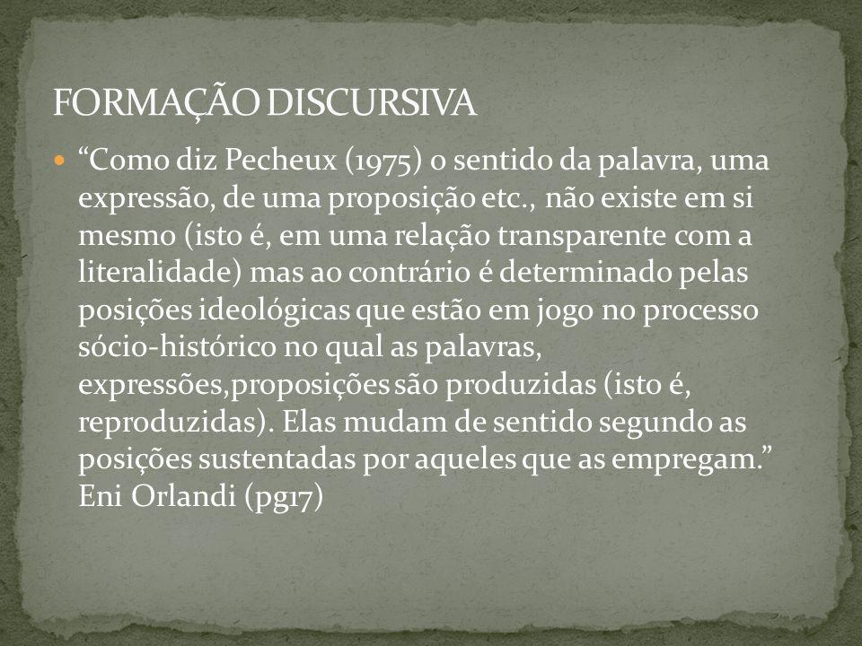 FORMAÇÃO DISCURSIVA