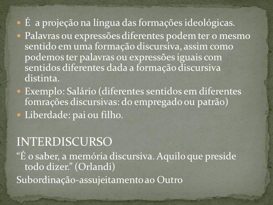 INTERDISCURSO É a projeção na língua das formações ideológicas.