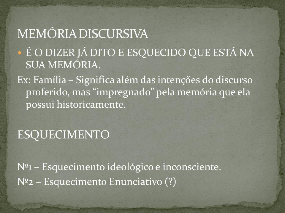 MEMÓRIA DISCURSIVA ESQUECIMENTO