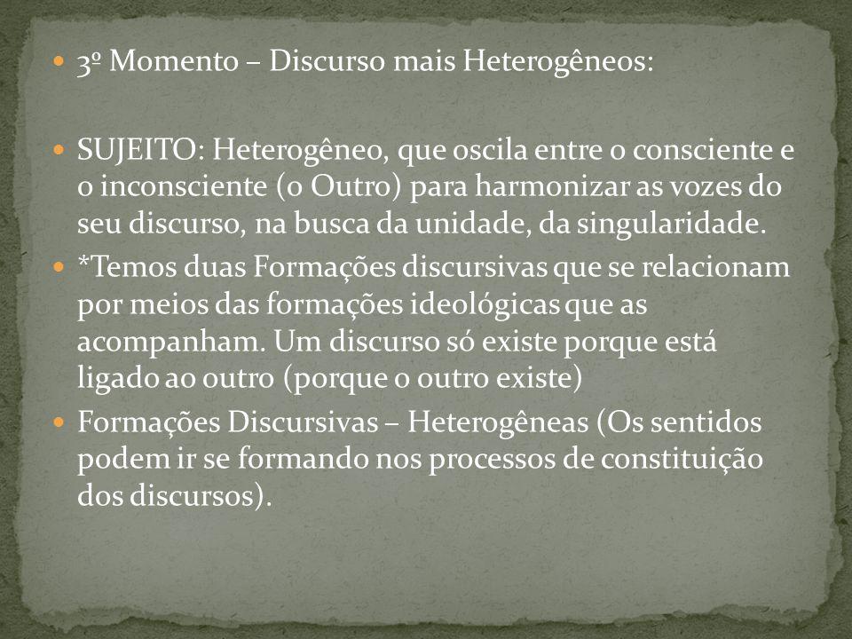 3º Momento – Discurso mais Heterogêneos: