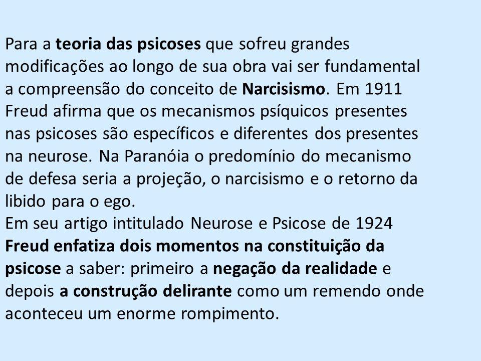 Para a teoria das psicoses que sofreu grandes modificações ao longo de sua obra vai ser fundamental a compreensão do conceito de Narcisismo.
