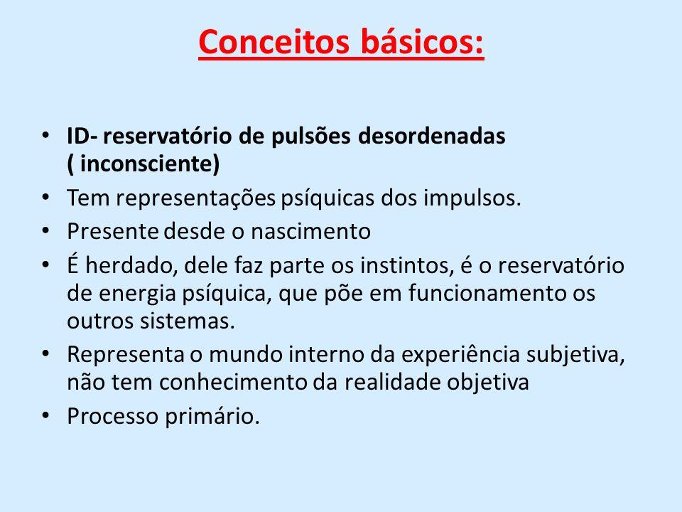 Conceitos básicos: ID- reservatório de pulsões desordenadas ( inconsciente)