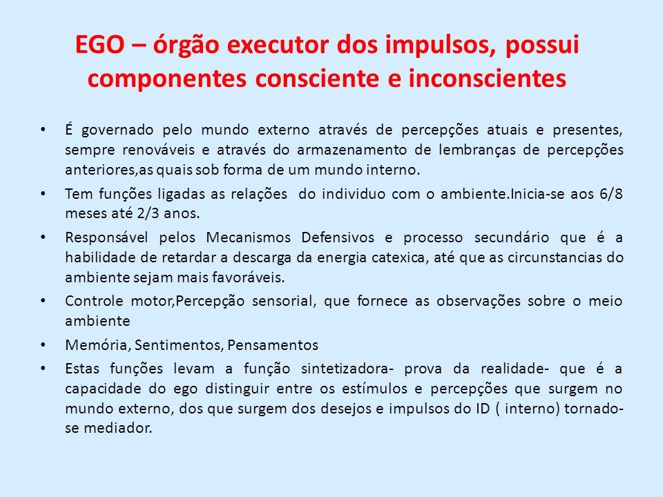 EGO – órgão executor dos impulsos, possui componentes consciente e inconscientes