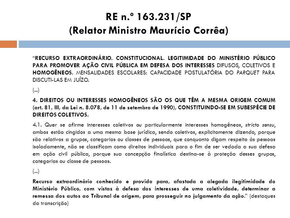 RE n.º 163.231/SP (Relator Ministro Maurício Corrêa)