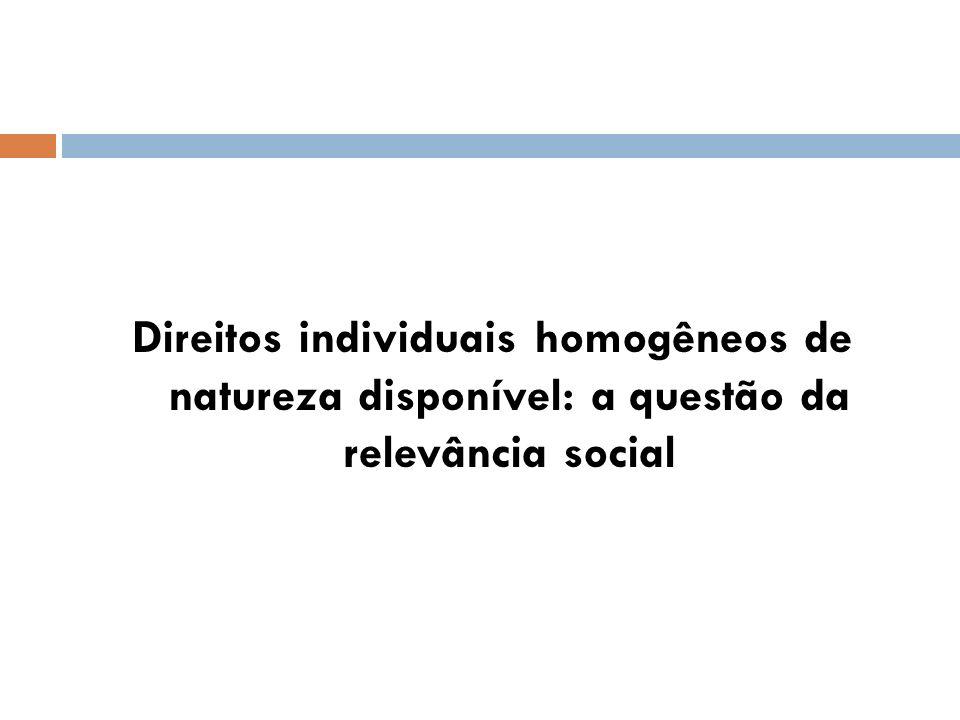 Direitos individuais homogêneos de natureza disponível: a questão da relevância social