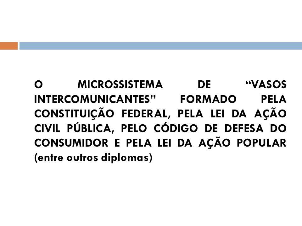 O MICROSSISTEMA DE VASOS INTERCOMUNICANTES FORMADO PELA CONSTITUIÇÃO FEDERAL, PELA LEI DA AÇÃO CIVIL PÚBLICA, PELO CÓDIGO DE DEFESA DO CONSUMIDOR E PELA LEI DA AÇÃO POPULAR (entre outros diplomas)