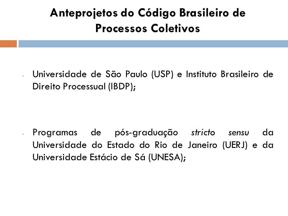 Anteprojetos do Código Brasileiro de Processos Coletivos