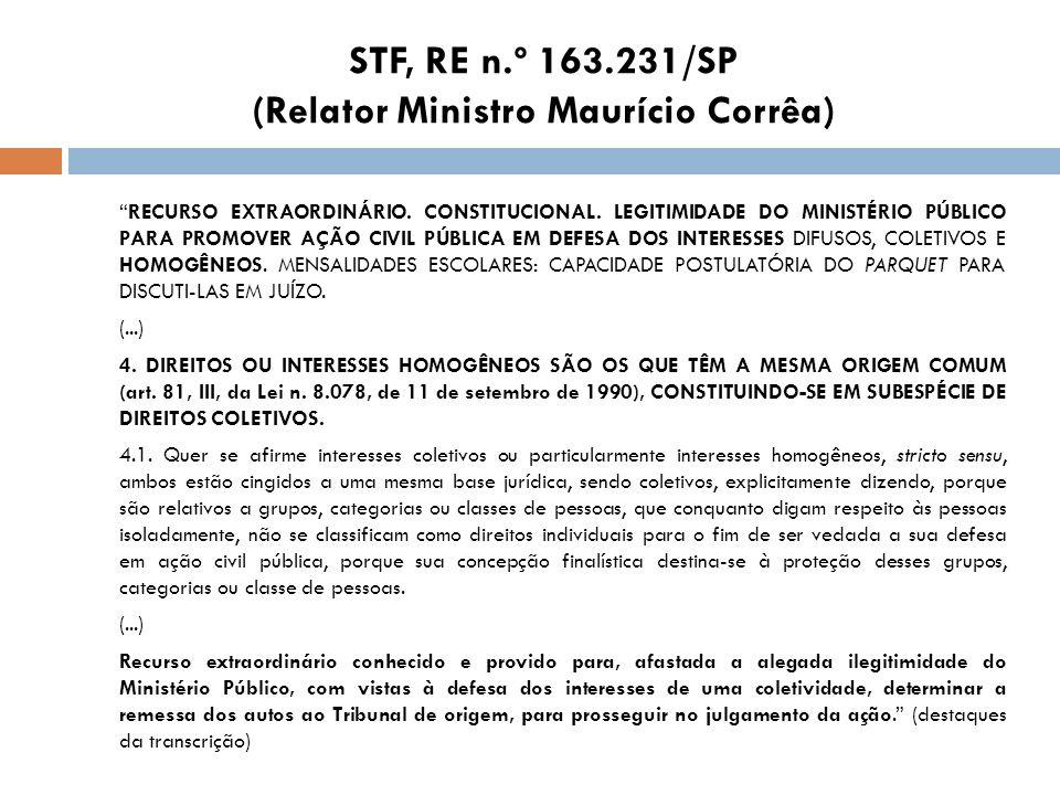 STF, RE n.º 163.231/SP (Relator Ministro Maurício Corrêa)