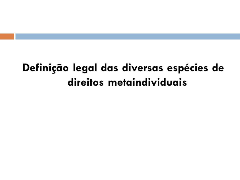 Definição legal das diversas espécies de direitos metaindividuais