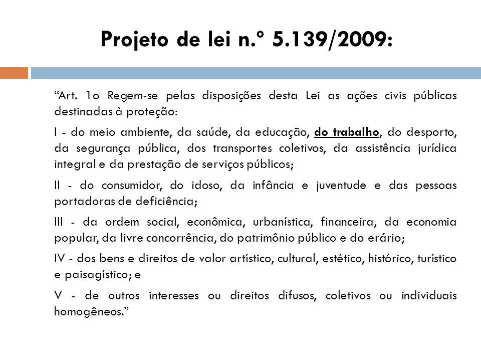 Projeto de lei n.º 5.139/2009: Art. 1o Regem-se pelas disposições desta Lei as ações civis públicas destinadas à proteção:
