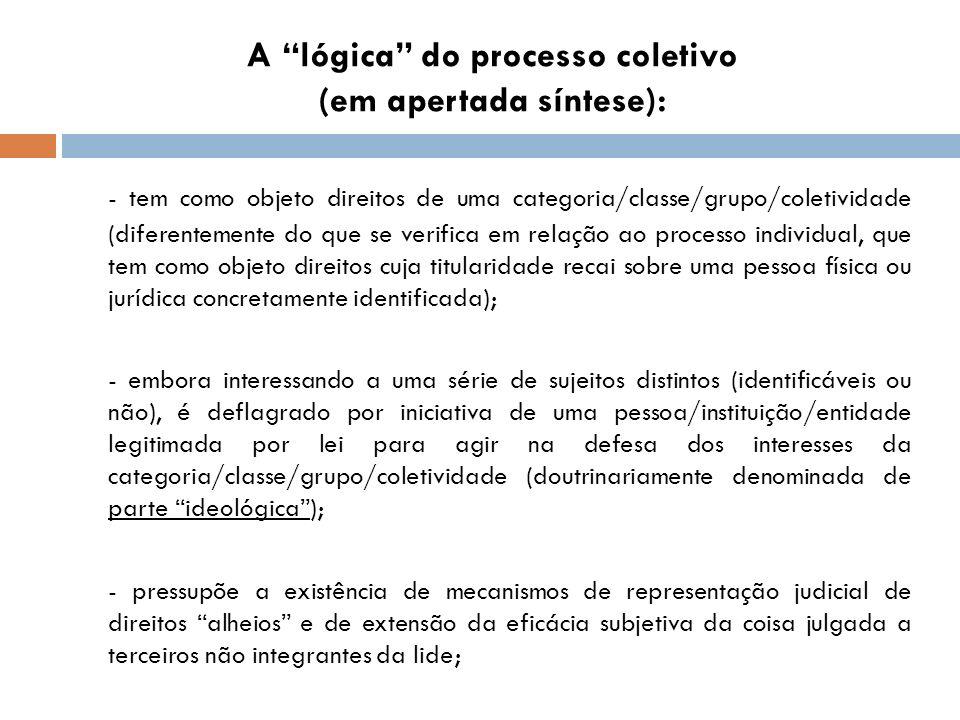 A lógica do processo coletivo (em apertada síntese):
