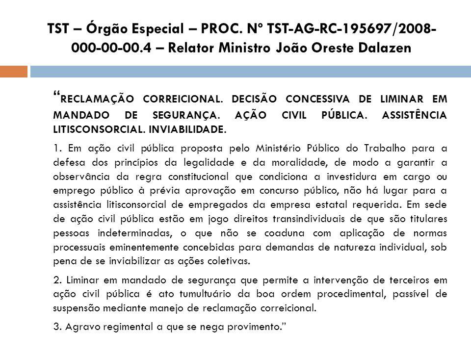 TST – Órgão Especial – PROC. Nº TST-AG-RC-195697/2008-000-00-00