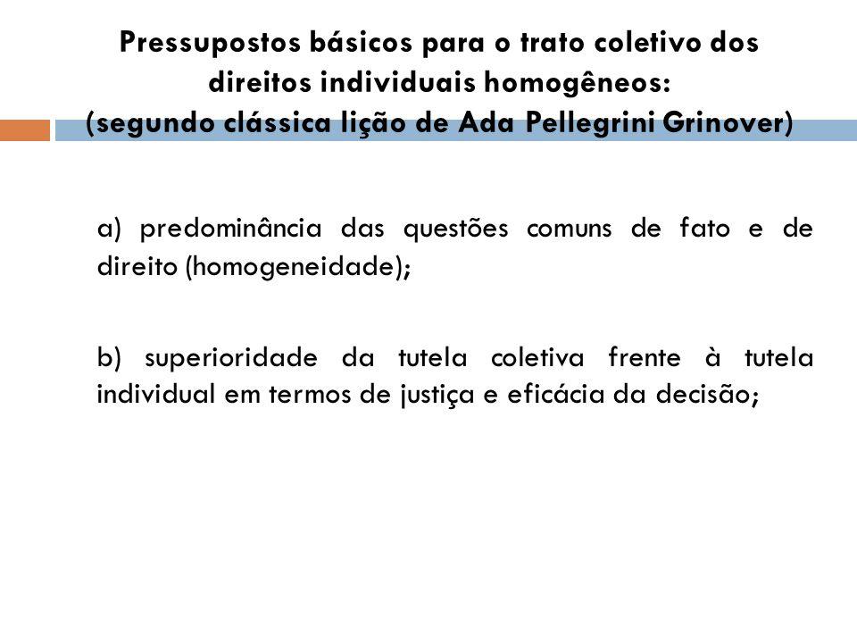 Pressupostos básicos para o trato coletivo dos direitos individuais homogêneos: (segundo clássica lição de Ada Pellegrini Grinover)