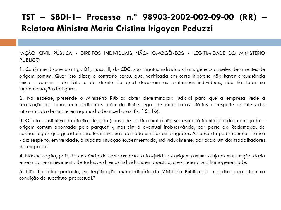 TST – SBDI-1– Processo n.º 98903-2002-002-09-00 (RR) – Relatora Ministra Maria Cristina Irigoyen Peduzzi