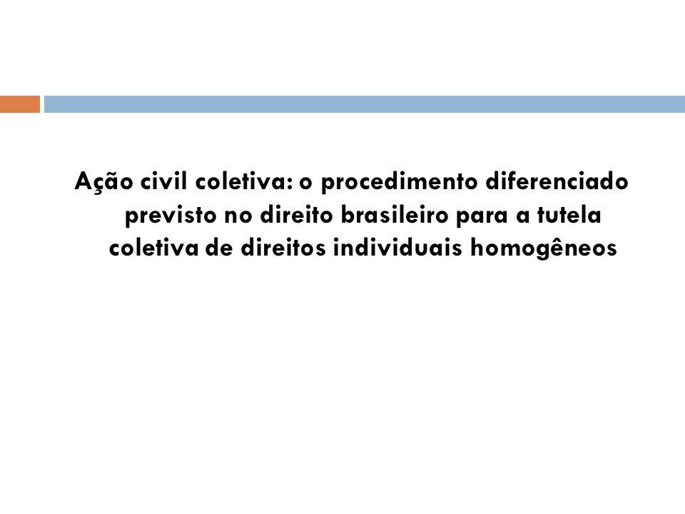 Ação civil coletiva: o procedimento diferenciado previsto no direito brasileiro para a tutela coletiva de direitos individuais homogêneos