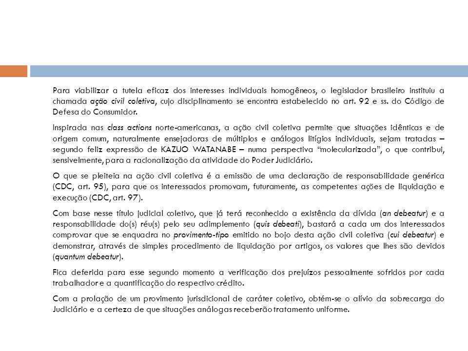 Para viabilizar a tutela eficaz dos interesses individuais homogêneos, o legislador brasileiro instituiu a chamada ação civil coletiva, cujo disciplinamento se encontra estabelecido no art.
