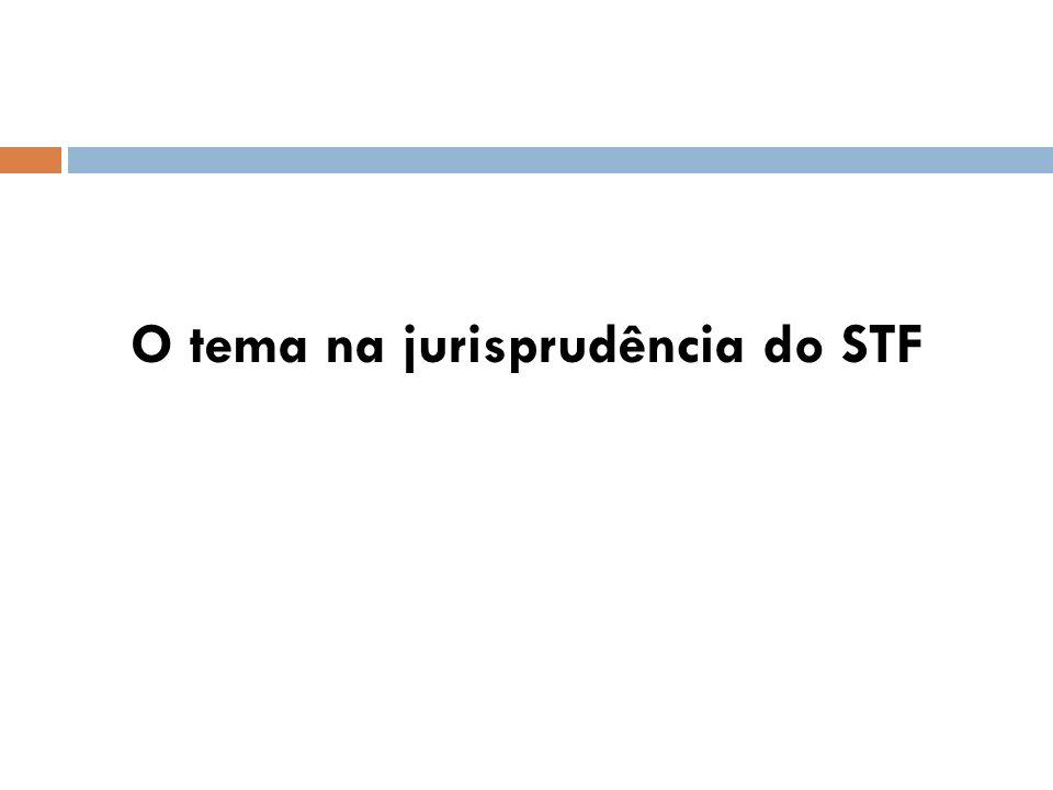 O tema na jurisprudência do STF