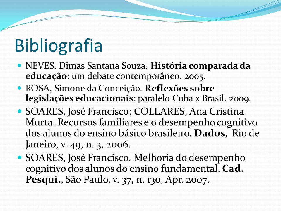 Bibliografia NEVES, Dimas Santana Souza. História comparada da educação: um debate contemporâneo. 2005.