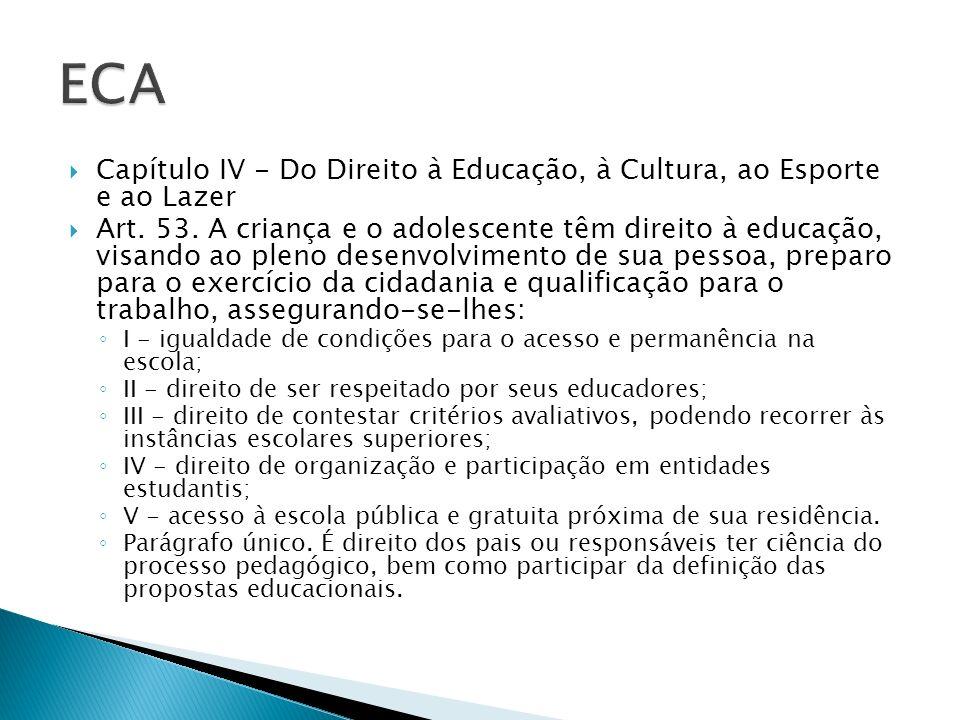 ECA Capítulo IV - Do Direito à Educação, à Cultura, ao Esporte e ao Lazer.