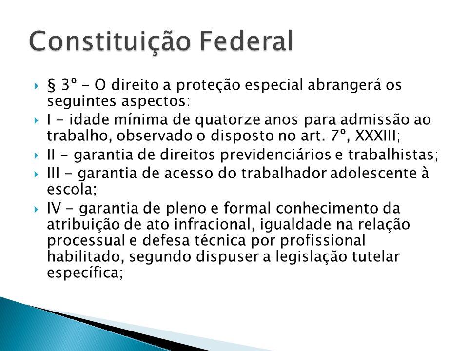 Constituição Federal § 3º - O direito a proteção especial abrangerá os seguintes aspectos: