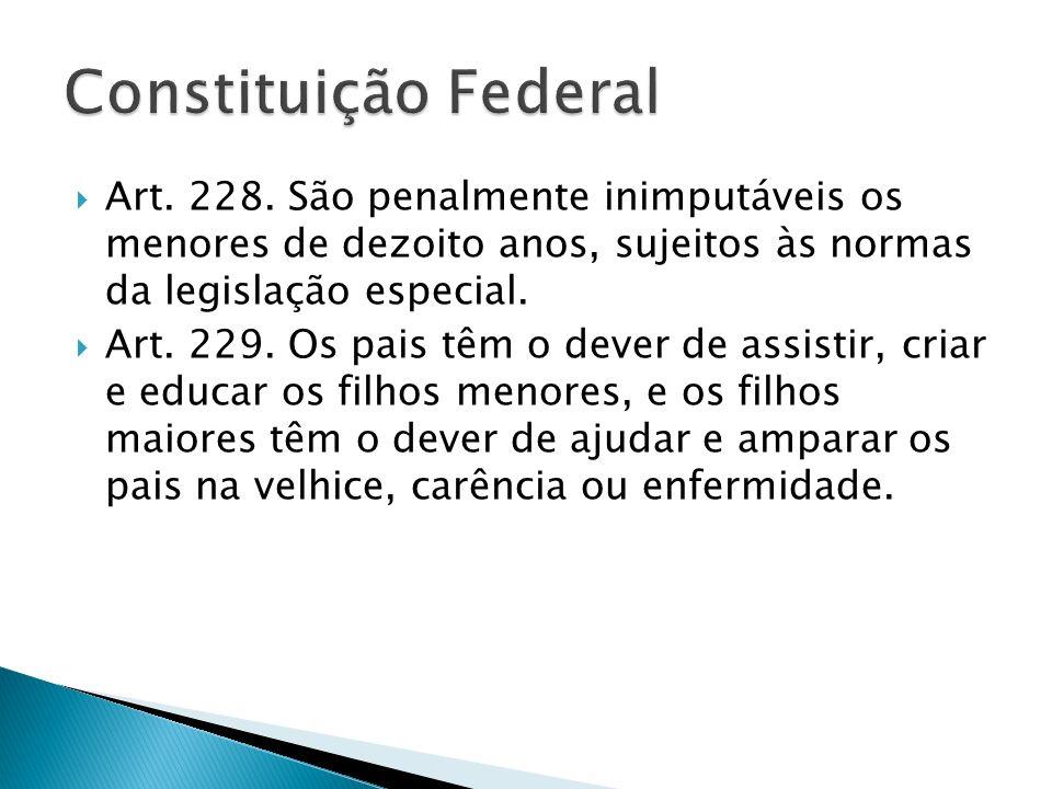 Constituição FederalArt. 228. São penalmente inimputáveis os menores de dezoito anos, sujeitos às normas da legislação especial.