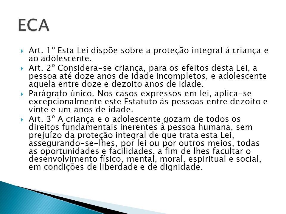 ECA Art. 1º Esta Lei dispõe sobre a proteção integral à criança e ao adolescente.